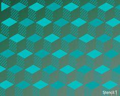 Gabarit1 géométrique 3D répéter pochoir motif S1_PA_25 par Stencil1