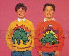 vintage Adult & Childs DINOSAURS jumper knitting by borisbeka, $4.00
