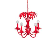 Red Palm Chandelier