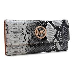 Michael Kors Python Continental Large Grey Wallet