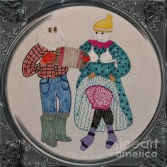 Mummers Dancing - Porthole Vignette by Barbara Griffin. This vintage Newfoundland scene is a drawing on fabric of mummers dancing and having fun. It is also called jannying when people dress in strange clothing with their faces covered and go visiting friends for a drink and a laugh.