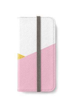 'Gold & Pink Geometry' iPhone Wallet by ARTbyJWP (by-jwp) from Redbubble #phonewallet #iphonewallet #phonecase #iphonecase #phoneaccessories #techaccessories #giftideas #gifts #buyart #artprints #artbyjwp #redbubble #pink #gold #white