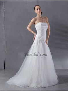 CLICK IMAGE TWICE FOR PRICING AND INFO:) #women #womendresses #eveninggown #cocktaildress #wedding #weddinggown #eveningdresses #prom #debut #partydress #bridesmaid SEE MORE strapless womens dresses at http://www.zbrands.com/Strapless-Womens-Dresses-C60 Elegant Sheath Strapless Satin and Tulle Sweep Train Wedding Dress WSC06369-L