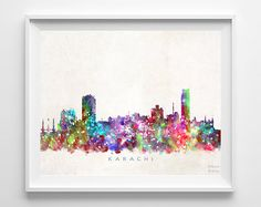 Karachi Skyline Print Pakistan Print Karachi by InkistPrints