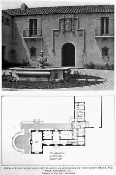 Entrance and floor plan of the Meyer Residence, Pasadena Spanish Style Homes, Spanish Revival, Spanish House, Spanish Colonial, Architecture Mapping, Architecture Plan, Residential Architecture, Vintage Architecture, Historical Architecture