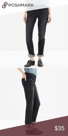 "Madewell Slim Boyjean Boyfriend Jeans Product Details A leaner take on our slouchy-meets-skinny Boyjean—size up for a looser fit.   	•	Sits at hips. 	•	Slight drop crotch, slouchy fit through hip, with a relaxed, slim leg. 	•	Front rise: 8 1/2"". 	•	Inseam: 30"". 	•	Leg opening for size 25: 13"". 	•	94% cotton/2% elastane/4% other fibers. Jeans are in excellent condition. They are no longer made in this wash. Please ask all questions prior to purchasing. Madewell Jeans Boyfriend"
