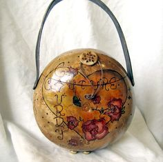 Heart and Flower Gourd Purse