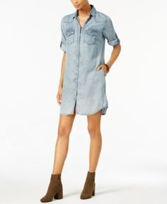 Kut from the Kloth Petite Ruthy Striped Chambray Denim Shirtdress - Blue PXL