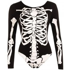 Cristal Skeleton Long Sleeve Bodysuit ($23) ❤ liked on Polyvore featuring intimates, shapewear, tops, bodysuit, outfits, shirts and witch
