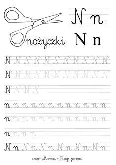 SZABLONY DO NAUKI PISANIA LITER - LITERKI M - Z - Mama Bloguje Polish Language, Teacher Inspiration, Learn English Words, Cursive, Hand Lettering, Homeschool, Student, Letters, Learning