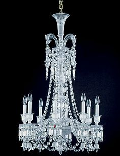 8 Light Crystal Lighting by Italian Concept(TM) Baccarat Trim Chandelier Glass Chandelier, Beautiful Chandelier, Beautiful Lights, Chandelier Lamp, Chandelier Lighting, Candelabra Chandeliers, Beautiful Lighting, Chandelier, Baccarat Crystal