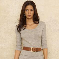 Elda Wool Flannel Top - Blue Label Long-Sleeve - RalphLauren.com