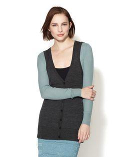 Bi-Color Ribbed Wool Cardigan by Vera Wang at Gilt