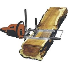 Chain saw mill to get slabs from logs. Good for small volume and salvaging urban lumber.
