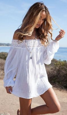 #spring #outfits White Off The Shoulder Crochet Dress