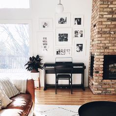 This morning I slept in until Full on summertime laziness going on over here!   I really haven't changed anything up in this space… Update Brick Fireplace, Brick Fireplace Wall, Red Brick Fireplaces, Fireplace Gallery, Piano Living Rooms, Piano Room, Red Brick Walls, White Walls, Pianos Peints