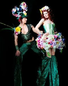 Spring Bouquet Stilt Walkers from www.FlamingFun.com or call 07788732552 for more info.