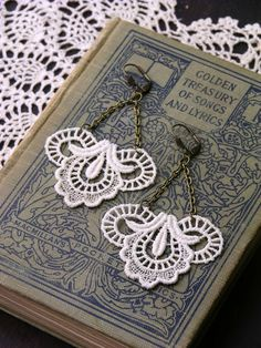 lace earrings- CALLIOPE- ivory - wedding earrings- dangle earrings. $24.00, via Etsy.