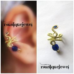 Wire Wrapped Electric Blue Beads Earcuff by rsuniquejewel on Etsy