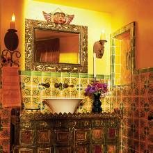 glazed mexican tiles create colorful wainscoting