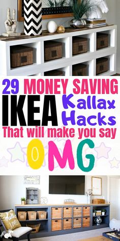 With these Ikea Kallax hacks you can easily transform your Kallax (expedit) on a budget into a furniture piece that looks more expensive than it really is! Ikea Furniture Hacks, Diy Home Furniture, Furniture For Small Spaces, Furniture Storage, Coaster Furniture, Ikea Small Spaces, Painting Ikea Furniture, Diy Furniture Hacks, Kid Spaces
