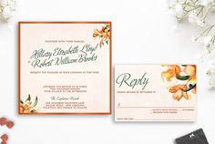Tiger Lily Wedding Invitation Watercolor Wedding by AldaleDesign