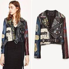 graffiti leather jacket - Google Search Tomboy Fashion, 90s Fashion, Boho Fashion, Riders Jacket, Biker Jackets, Leather Jackets, Kimono Top, Zara, Graffiti