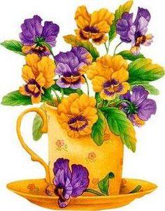 print -- Golden teacup with pansies Art Floral, Vintage Diy, Vintage Cards, Flower Prints, Flower Art, Tee Kunst, Tea Cup Art, Decoupage Art, Pintura Country