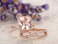 2pcs 9mm cushion cut Morganite engagement ring set diamond