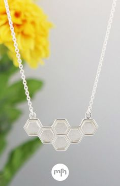 Just Bee Honeycomb Necklace Bee Honeycomb, Authentic Self, Meaningful Jewelry, Drum, Minimalist, Chain, Sterling Silver, Diamond, Pendant