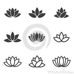 "Buy the royalty-free Stock vector ""Vector black lotus icons set on white background. Lotus"" online ✓ All rights included ✓ High resolution vector file f."