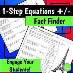 Engage your students with a Fact Finder worksheet today!  Your students will learn fun facts about the Eiffel Tower while they practice solving one step equations using addition or subtraction in this fun worksheet.This Fact Finder includes 11 problems requiring students to solve one step equations involving only addition or subtraction.