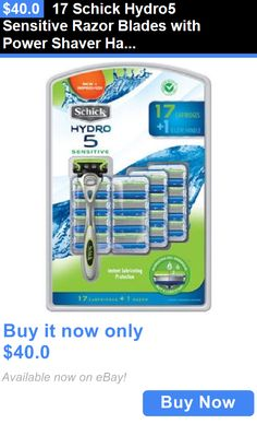 Mens Razors: 17 Schick Hydro5 Sensitive Razor Blades With Power Shaver Handle - 5 Blades New BUY IT NOW ONLY: $40.0
