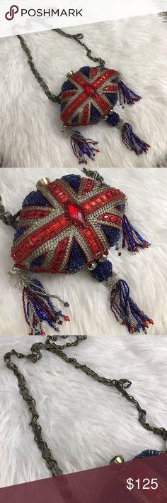 MARY FRANCES BRITISH FLAG DETAIL CLUTCH BAG PURSE Beautiful Mary Frances bag Mary Frances Bags