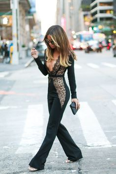 www.streetstylecity.blogspot.com Fashion inspired by the people in the street ootd look outfit sexy heels legs woman girl braless jumpsuit Jessi Malay at NYFW 2015