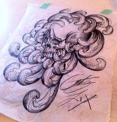 Deadly Tattoos inc. - chrysanthemum and skull