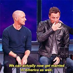 James McAvoy and Michael Fassbender after being shown a Charles and Erik fanvideo