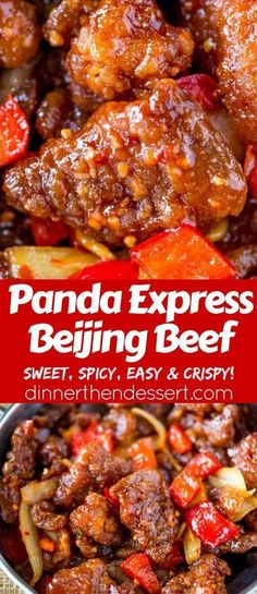 Panda Express Beijing Beef (Copycat) - Dinner, then Dessert Panda Express Beijing Beef is an awesome copycat of the original with crispy strips of marinated beef, bell peppers and sliced onions, tossed in the wok with a tangy sweet and spicy sauce. Pasta China, Panda Express Recipes, Asian Recipes, Healthy Recipes, Chinese Beef Recipes, Healthy Food, Crispy Beef Chinese, Chinese Beef Dishes, Chinese Chicken