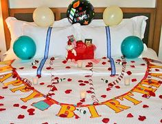 Surprise Birthday Bedroom Decorating, (great idea for the hubby)