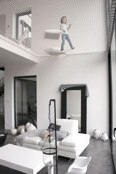 Architecture House Loft The net above the living room in this modern home creates a play space for kids, and a relaxing spot for grownups. Home Interior Design, Interior Architecture, Amazing Architecture, Diy Casa, Loft Design, Salon Design, Design Design, Design Ideas, Architect House