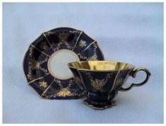 Lindner Kueps Bavaria Gold Eicht Cobalt Teacup/Saucer