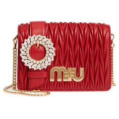 Women's Miu Miu Matelasse Leather Shoulder Bag (119.740 RUB) ❤ liked on Polyvore featuring bags, handbags, shoulder bags, fuoco, genuine leather purse, genuine leather handbags, red handbags, red leather shoulder bag and leather flap handbags