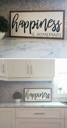 Such a true statement! Happiness is Homemade, wood sign, family sign, living room decor, dining room, home decor, farmhouse sign, farmhouse decor, rustic sign, rustic decor, gift idea #ad
