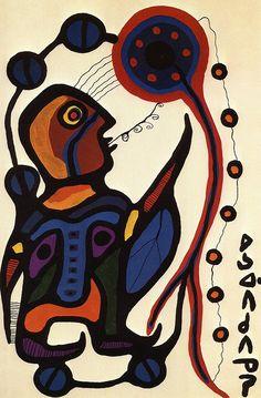 Morrisseau painting showing lines of prohecy. Inuit Kunst, Inuit Art, Native Canadian, Canadian Artists, Arte Tribal, Tribal Art, Kunst Der Aborigines, Woodland Art, Aboriginal Art