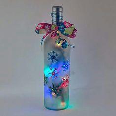 Lit up Christmas bottle