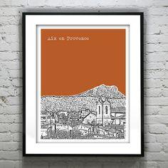 Aix en Provence France Poster City Skyline Art by AnInspiredImage