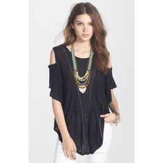 RESERVED  Free People Seamed Cold Shoulder Black cold shoulder tee from Free People. In good used condition with minimal signs of wear. Free People Tops Tees - Short Sleeve