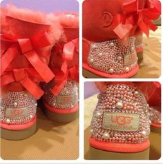 Coral UGG Boots | shoes coral ugg boots pearls peach bedazzled customized edit tags