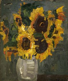 Still Life--Sunflowers, William H. Johnson, ca. 1935-1938, oil on burlap mounted on canvas, 25 x 21 1/8 in. (63.4 x 53.6 cm), Smithsonian American Art Museum, Gift of the Harmon Foundation, 1967.59.715