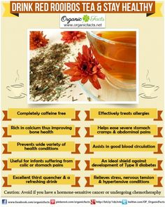 Health benefits of red rooibos tea include its use as a cure for nagging headaches, insomnia, asthma, eczema, bone weakness, hypertension, allergies, and premature aging.